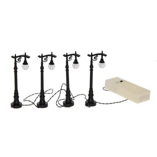 Pouličná lampa 4 kusová, na batérky